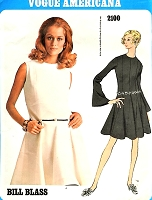 1960s BEAUTIFUL Bill Blass Princess Seam Dress Pattern VOGUE Americana 2100  Flirty Flared Godet Dress Daytime or Evening Party Size 8 Vintage Sewing Pattern FACTORY FOLDED