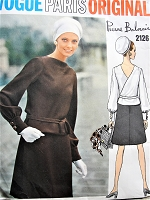 1960s MOD Balmain Fabulous Dress Pattern VOGUE Paris Original 2126 Bateau Neckline With Surplice V Back, Peplum Bodice with A Line Skirt Day or Evening Bust 34 Vintage Sewing Pattern