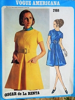 1960s FABULOUS Day or Party Dress Pattern VOGUE AMERICANA Oscar De La Renta Lovely Dress Bust 36 Vintage Sewing Pattern