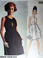 1960s LOVELY Cocktail Evening Party Dress Pattern VOGUE Americana 2170 High Waist Dress,Cutaway Arm Holes,Front Keyhole Cutout Bust 32.5 Vintage Sewing Pattern