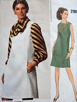 1960s SLEEK Dress or Jumper  and Bow Tie Blouse Pattern VOGUE Americana 2180 Teal Traina Mod Style Dress Bust 36 Vintage Sewing Pattern