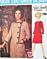CLASSY 1960s SYBIL CONNOLLY Asymmetric Coatdress Pattern VOGUE COUTURIER Design 2183 Stylish Dress Design Day or After 5 Bust 40 Vintage Sewing Pattern FACTORY FOLDED