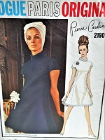MOD 60s PIERRE CARDIN Dress Pattern VOGUE PARIS Original 2190 Bust 32 Vintage Sewing Pattern FF
