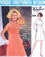 1960s VALENTINO Lovely A Line Dress Pattern VOGUE COUTURIER DESIGN  2204 Seam Interest Day or After 5 Dress Bust 34 Vintage Sewing Pattern