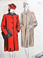 Late 1930s FABULOUS Straight Coat Pattern VOGUE Couturier Design Two Beautiful Versions Bust 34 Vintage Sewing Pattern