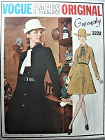 1960s GIVENCHY Belted Flared Coat Pattern VOGUE Paris Original 2228 Semi Fitted A Line With Side Back Flare Bust 34 Vintage Sewing Pattern Factory Folded + Label