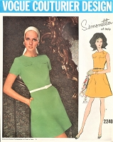1960s SIMONETTA Dress Pattern Vogue Couturier Design 2240 Cute Style Large Shaped Pockets Bust 34 Vintage Sewing Pattern