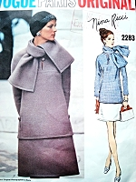 1970s NINA RICCI Stylish 2 Pc Dress and Scarf Pattern VOGUE PARIS ORIGINAL 2283 Bust 34 Vintage Sewing Pattern