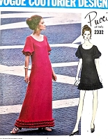 1960s STUNNING Pucci Evening Gown Cocktail Dress Pattern VOGUE Couturier Design 2332 Easy Elegance Bust 36 Vintage Sewing Pattern FACTORY FOLDED