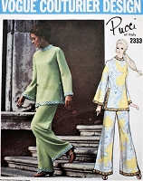 1960s PUCCI Mod Tunic and Pants Pattern VOGUE Couturier Design 2333 Bell Sleeved Top and Pants Casual Evening Elegance Bust  31 Vintage Sewing Pattern