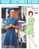 1960s BELINDA BELLVILLE A Line Dress Pattern Vogue Couturier Design 2345 Lovely Day or Cocktail Dress  Bust 32.5 Vintage Sewing Pattern UNCUT