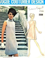 1960s ELEGANT Mod Forquet Dress Pattern VOGUE Couturier Design 2358 Lovely A Line Dress Daytime or Evening Cocktail Party Bust 36 Vintage Sewing Pattern + Label