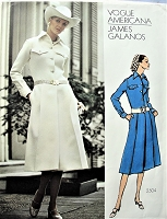 1960s GALANOS  Tailored Dress Pattern VOGUE AMERICANA 2504 Lovely Front Pleated Dress Bust 34 Vintage Sewing Pattern FACTORY FOLDED +Sew In Label