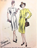 1940s SLEEK Tailored WW2 Dress Pattern VOGUE COUTURIER Design 250 Daytime or After 5 Dress Bust 38 Vintage Sewing Pattern FACTORY FOLDED