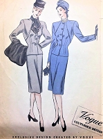 1940s CHIC Slim Suit Fur Ascot and Muff Pattern VOGUE COUTURIER Design 259 Bust 34 Stunning Slim Skirt Suit and Fab Accessories Vintage Sewing Pattern
