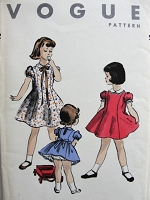 1950s Vintage ADORABLE Child's Dress with Puffed Sleeves Vogue 2697 Chest 24 Sewing Pattern
