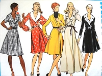 1970s FAB Wrap Dress Pattern VOGUE Basic Design 2764 Wrapped Dress Mid Knee or Ankle Length, Flattering Flared Skirt Bust 32 Vintage Sewing Pattern FACTORY FOLDED