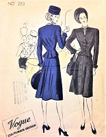 1940s FILM NOIR 3 pc Suit Pattern VOGUE COUTURIER Design 283 Short Fitted Jacket, Flared Skirt ,Sleeveless Blouse Bust 34 Vintage Sewing Pattern