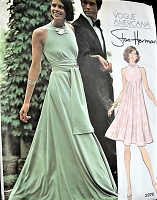 1970s FAB Stan Herman TENT Dress or Maxi Evening Gown Pattern VOGUE Americana 2976 Bias Cut Pull Over Dress, Cutaway Arms, Bust 32 Vintage Sewing Pattern