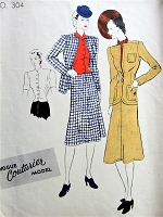 Late 1930s FABULOUS Suit,Blouse and Scarf Pattern VOGUE Couturier Model 304 Unique Jacket Design, Flared Skirt, Beautiful Over Blouse Bust 36 Vintage Sewing Pattern