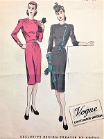 1940s FILM NOIR Slim Cocktail Dress Pattern VOGUE COUTURIER Design 338 Bust 34 Lovely Style Details Day or Evening Vintage Sewing Pattern FACTORY FOLDED