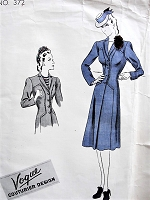 1930s STYLISH Coat Pattern VOGUE Couturier Design 372 Flattering Fitted Single Beasted Coat With Shaped Sections Bust 34 Vintage Sewing Pattern