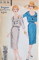 1950s CHIC Two Piece Dress Vogue Special Design 4005 Bust 34 Vintage Sewing Pattern