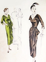 1950 STUNNING Cocktail Dinner Party Evening Dress Pattern VOGUE Special Design S-4018 Low V Neckline Side Cascade Drape Pure Glamour Bust 30 Vintage Sewing Pattern
