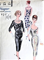 1950s STUNNING Cocktail Evening Party Dress and Short  Jacket Pattern VOGUE Special Design 4053 Optional Bias Cut Dress, Plunging Neckline and Back Bust 32 Vintage Sewing Pattern