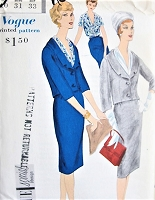 1950s ELEGANT Suit and Blouse Pattern VOGUE Special Design 4088 Slim Skirt, Short Fitted Jacket, Beautiful Tuck In Blouse Bust 31 Vintage Sewing Pattern FACTORY FOLDED