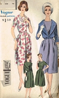 1960s CLASSY Dress and Short Jacket Pattern VOGUE Special Design 4094 Lovely Jewel Neckline Front Pleat Dress Bust 32 Vintage Sewing Pattern