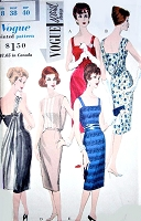 1960s DRAMATIC Cocktail Evening Party Dress Pattern VOGUE Special Design 4112 Optional Back Cowl Drape Several Style Versions Bust 38 Vintage Sewing Pattern UNCUT