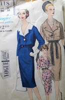 1960s Vintage POSH One Piece Dress with Single Button Closing Vogue 4118 Sewing Pattern Bust 36