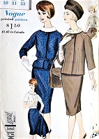 1960s FABULOUS Suit and Blouse Pattern VOGUE Special Design 4161 Slim Skirt Suit and Beautiful Blouse, Daytime or Dinner Bust 31 Vintage Sewing Pattern