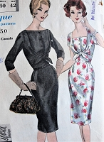 1960s Vintage Gorgeous Dress with Interesting Bodice Vogue 4173 Sewing Pattern Bust 40