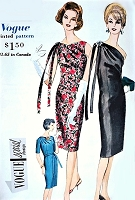 1960s STUNNING Slim One Shoulder Evening Cocktail Party Dress Pattern VOGUE Special Design 4228 Draped Shoulder, 3 Style Options Daytime or Evening Wear Bust 34 Vintage Sewing Pattern