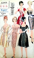 1960s STUNNING Evening Cocktail Party Dress and Redingote VOGUE SPECIAL Design 4269 Three Lovely Style Versions Bust 32 Vintage Sewing Pattern
