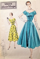 1950s STUNNING Cocktail Party Dress Pattern VOGUE Special Design 4382 Lovely Surplice Wrap Bodice Evening Dress with Flared Skirt Bust 34 Vintage Sewing Pattern