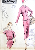 1950s STYLISH Slim Day or Evening Cocktail Dress and Fitted Jacket Pattern Interesting Built Up Neckline Bust 34 Vintage Sewing Pattern