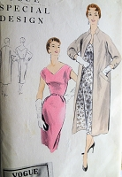 1950s CLASSY Slim Dress and Coat Pattern VOGUE Special Design 4481,Flattering Wide V Neckline Day or Cocktail Party Dress, Straight Coat Interesting Neckline,Bust 32 Vintage Sewing Pattern