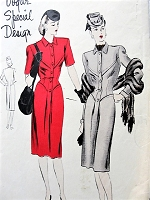 1940s FABULOUS Fitted Seam Interest Dress Pattern VOGUE Special Design 4500 Beautiful Design Details Daytime or Dinner Dress Bust 32 Vintage Sewing Pattern