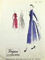1940s LOVELY Dress Pattern VOGUE Couturier Design 451 Interesting Sectional Skirt With Lapped Seams, Daytime or After 5 Bust 34 Vintage Sewing Pattern