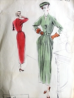 1940s BEAUTIFUL Peg Top Skirt Dress Pattern VOGUE COUTURIER Design 455 Lovely Style Daytime or Evening Bust 32 Vintage Sewing Pattern