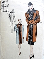 1940s ELEGANT Coat Pattern VOGUE Special Design 4571 Lovely Straight Hanging Front, Flared Back, Wide Shaped Collar , Tuxedo Front Day or Evening Bust 30 Vintage Sewing Pattern