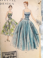 1950s GLAMOROUS Evening Dress or Gown Pattern VOGUE Special Design 4606 Very Full Skirt Shirred Bodice Just Beautiful Style Bust 30 Vintage Sewing Pattern