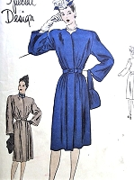 40s Classy FILM NOIR Style Belted Coat Pattern VOGUE Special Design 4620 Slim Back, Fullness at Front Bust 36 Vintage Sewing Pattern FACTORY FOLDED
