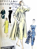 1950s CHIC Cocktail Party Dress and Coat Pattern VOGUE Special Design 4659 Slim Dress Wide Neckline, Elegant Straight Coat Perfect for Special Occasions Bust 36 Vintage Sewing Pattern