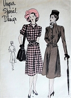 1940s UNIQUE Peplum Dress Pattern VOGUE Special Design 4693 Flared Skirt Dress 2 Necklines,Includes Cravat Bust 30 Vintage Sewing Pattern