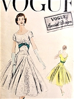1950s DRAMATIC Circular Skirt Evening Party Dress Pattern VOGUE Special Design 4696 Beautiful Full Skirt With Elongated Bodice, Oval Front Neckline Low Back Bust Bust 32 Vintage Sewing Pattern
