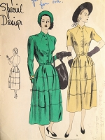 1940s Vintage GRACEFUL Dress with Tiered Skirt Vogue 4802 Sewing Pattern Bust 34